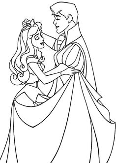 Sleeping Beauty Dancing With Her Prince Coloring Page