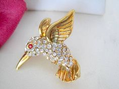 Rhinestone Brooch Hummingbird  Pin