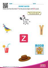 Phonic Match Z Preschool Phonics, Learning Phonics, Toddler Learning Activities, Teaching Kindergarten, Preschool Worksheets, Fun Learning, Letter S Worksheets, Nursery Worksheets, Alphabet Worksheets