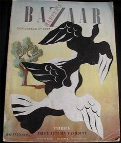 1937 September Fall Fashions Harper's Bazaar Magazine Chanel Schiaparelli More | eBay