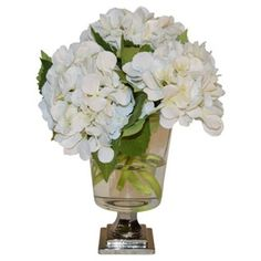 "Check out this item at One Kings Lane! 15"" Hydrangea Arrangement in Vase, Faux"