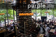 """Purple, Seattle. A great place to go for a glass of wine! Check out the wine """"rack"""" in the middle!"""