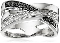 Sterling Silver Intertwining Bands of Black and White Diamonds Ring (1/10cttw, I-J Color, I2-I3 Clarity), Size 7 >>> You can find out more details at the link of the image. (This is an Amazon Affiliate link and I receive a commission for the sales)