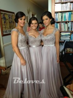 Grey Chiffon Cap Sleeves Bridesmaid Dress With Beaded Bodice