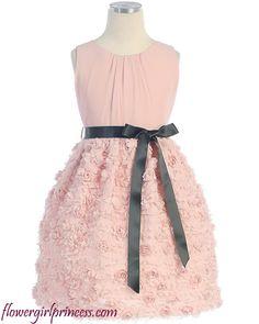 Flower Girl Dresses - Pink Flower Girl Dresses - SK263 - Blush Pink Chiffon Flower Girl Dress