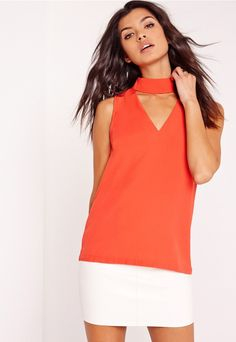 Choker neck blouse Orange - Missguided