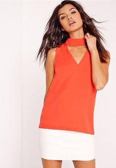 Choker neck blouse Orange - Missguided
