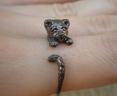 Cat Kitten Ring In Sterling Silver  Pet Ring  by HeartSculptures