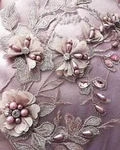 ANNA TRIANT COUTURE  Luxe 2018 Collection Tambour Beading, Tambour Embroidery, Couture Embroidery, Silk Ribbon Embroidery, Embroidery Fashion, Embroidery Jewelry, Embroidery Patches, Lace Applique, Hand Embroidery
