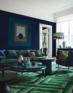 Living room Color Schemes for Interior Design and decoration. Look for inspiration, design tips, col Blue Living Room Decor, Living Room Color Schemes, Living Room Paint, Living Room Colors, Living Room Carpet, New Living Room, Living Room Sofa, Blue And Green Living Room, Dining Rooms