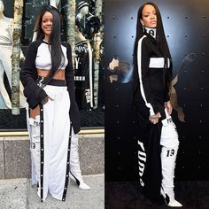 Rihanna attended the Fenty x Puma launch pop-up shop at Bergdorf Goodman wearing her own designs including a black and white kimono crop top.