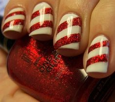 Candy Cane stripe finger nail art.. I'm thinking of doing this for Christmas!