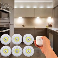 6x LED Kitchen Light Under Cabinet Lot Dimmable Stick On Battery Remote Touch