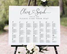 Seating Chart Template Editable Wedding Seating Chart | Etsy Rustic Seating Charts, Table Seating Chart, Seating Chart Wedding Template, Seating Plan Wedding, Seating Plans, Digital Invitations, Invitation Set, Table Cards, Wedding Signs