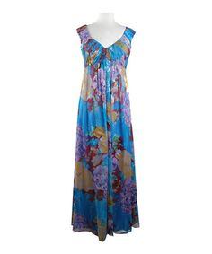 Another great find on #zulily! Blueberry Floral Empire-Waist Maxi Dress - Women #zulilyfinds