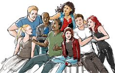 Team Captain America, family photo - Steve Rogers (Captain America), Eli Bradley (Patriot), America Chavez (Miss America), Sharon Carter (Agent 13), Sam Wilson (Falcon), Rikki Barnes (Nomad), Bucky Barnes (Winter Soldier), and Natasha Romanoff (Black Widow).