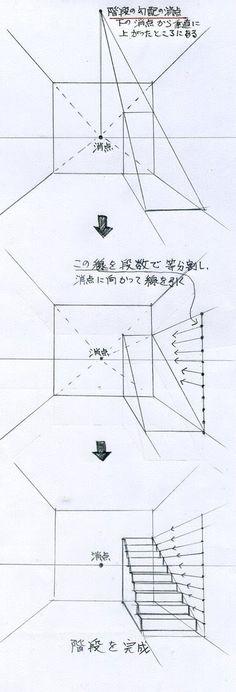 階段の描き方(手描きパースの描き方) | 手描きパースの描き方ブログ、パース講座(手書きパース)