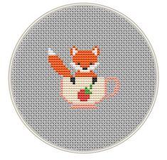 Fox Cross stitch pattern, Mini cross stitch pattern, Instant Download, cute cross stitch, Free shipping, PDF, Cute fox, MCS143