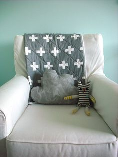 Grey and white plus sign quilted blanket, Modern baby quil, crib quilt, whole cloth quilt READY TO SHIP