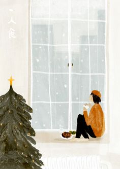 Enjoy my life and drawing. HI,I'm Oamul Lu.Enjoy my life and drawing. HI,I'm Oamul Lu.Enjoy my life and drawing. HI,I'm Oamul Lu.Enjoy my life and drawing. Illustration Noel, Winter Illustration, Christmas Illustration, Flowers Wallpaper, Poster Photo, Christmas Phone Wallpaper, Art Watercolor, Watercolor Flowers, Buch Design
