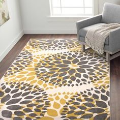 Well Woven Cabana Geometric Yellow/White Area Rug | Wayfair Yellow Area Rugs, Yellow Rug, Yellow Black, Teal Blue, Mustard Yellow, Modern Floral Design, Buying A New Home, Round Area Rugs, Gold Rug