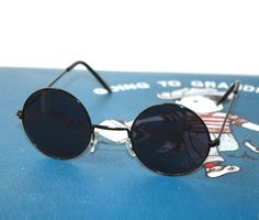 VTG 90s Black Round Circular Goth Sunglasses by PenelopeMeatloaf, $14.00