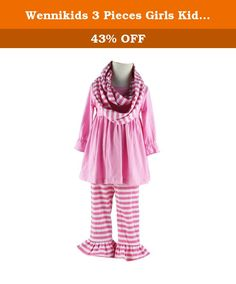 Wennikids 3 Pieces Girls Kids Outfits Long Ruffle Sleeves Top Ruffle Pants Clothing Set (S-12m, Pink). 3Pieces Scarves Outfits Material:Cotton With Ruffle Tops,Pants and Scarves Size suit for 1-5T Baby Kids High quality and made in China.