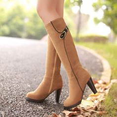 Women's Faux Suede Side Zip Knee High Boots, High Heels ,Party Shoes