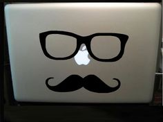 I could do this on back of my iPad!    Mustache & Eyeglasses Vinyl Decal  In Black by JumblehutInked, $7.50