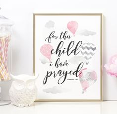 For this Child I have Prayed, For this Child I Prayed, 1 Samuel 1 27, Christian Art, Scripture Wall Art, Girl Nursery Decor, PRINTABLE, 8x10 by off2marketPrintables on Etsy