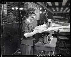 One of the many female employees at Willow Run. Ypsilanti Michigan, Working People, Us Air Force, Documentary Film, National Museum, Photo Library, Arsenal, World War, Wwii
