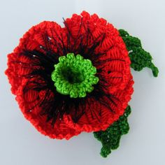 Knit your own poppy for remembrance dayveterans day free 2 in 1 brooch or hair pin on your choice poppy flower crochet red by mightylinksfo
