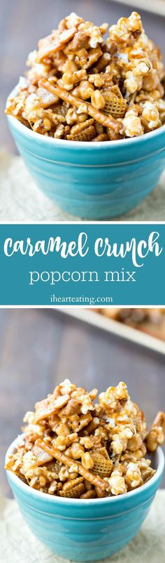 Caramel Crunch Popcorn Mix Recipe - made with popcorn, cereal, pretzels, and nuts, this snack mix is sure to please! Popcorn Mix, Popcorn Snacks, Popcorn Recipes, Caramel Recipes, Cereal Recipes, Snack Recipes, Carmel Popcorn, Paleo Cereal, Quinoa Cereal
