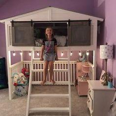 Loft Bed / Kids Room / Boys Room / Girls Room / Decor /   Etsy Teen Boys Room Decor, Room Girls, Little Girl Rooms, Boy Room, Kids Room, Bedroom Furniture, Furniture Design, Full Bed, King Beds