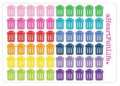 Miniature Rainbow Trash Can Planner Stickers, Erin Condren Planner Stickers, Filofax, Kikki K, Scrapbook Stickers, Calendar Stickers, etc. by aHeartFeltLife on Etsy https://www.etsy.com/listing/246398712/miniature-rainbow-trash-can-planner