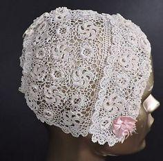 Antique Hand Made Irish Crochet Lace Bonnet w Turned Up Brim | eBay