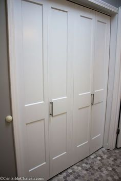 How to Easily Install Bi-Fold Closet Doors In Your ClosetYou can find Closet doors and more on our website.How to Easily Install Bi-Fold Closet Doors In Your Closet Laundry Doors, Laundry Closet, Folding Closet Doors, Bi Fold Doors, French Closet Doors, Bi Fold Pantry Doors, Diy Closet Doors, Closet Door Handles, Modern Closet Doors