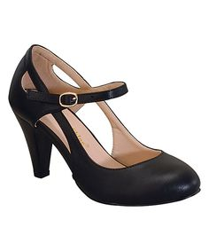 Look at this Chase & Chloe Black Cutout Kimmy Pump on #zulily today!