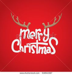 Merry Christmas Lettering Design with deer horn. Creative design for your Christmas background. Vector illustration.