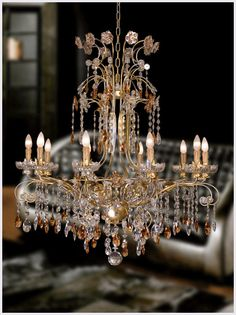 Wrought iron Florence chandelier with clear and amber Bohemian crystal lux