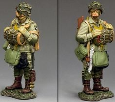World War II U.S. 101st Airborne DD263-2 Standing Ready with Tommy Gun - Made by King and Country Military Miniatures and Models. Factory made, hand assembled, painted and boxed in a padded decorative box. Excellent gift for the enthusiast.