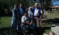 Distributing wheelchairs in Capinota, Bolivia. When Mano a Mano Aviation staff fly into remote areas, they transport with them wheelchairs, walkers, and other medical supplies for distribution in the communities. These supplies are part of the shipments Mano a Mano sends from our Saint Paul, Minnesota warehouse for distribution throughout Bolivia.