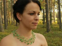 Green necklace Airy crochet necklace Wedding by SalixCinerea
