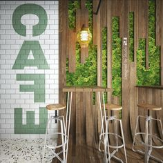 S Café – Bar design with green walls, curved wood, rough wood – Coffee shop design – Industrial Design Studio Rough Wood, Curved Wood, Rustic Restaurant, Coffee Shop Design, Green Walls, Cafe Bar, Industrial Design, Branding, Outdoor Structures