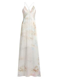Tie-dye V-neck sleeveless silk-satin gown | Galvan | MATCHESFASHION.COM US