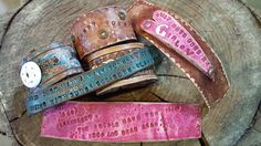 Leather cuff with gun related sayings! ! Great for holiday gifts  From Pinkpistolholsters.com $25 - $45