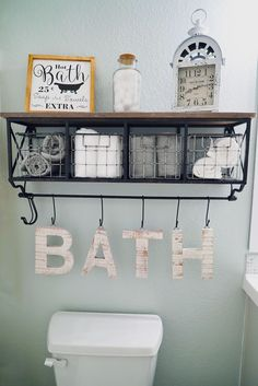 Guest Bathroom Makeover   Bathroom Decor   Sea Salt by Sherwin Williams   White Grey Vanity   Hanging Shelf   Neutral Decor   Farmhouse Style   Clean Fresh Straight Lines   Bathroom Decor Baskets   Bathroom Towel Decor   Hanging Letters for Bathroom   Rustic White   Before and After   Enjoy the Little Things   Hobby Lobby   Ampersand