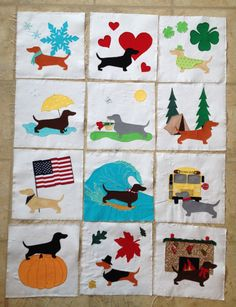 Year of Dachshunds Quilt Block Appliqué by Snugglepuppydesign