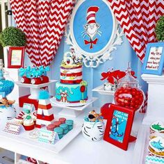 Dr Seuss party, so fun! Dr Seuss Party Ideas, Dr Seuss Birthday Party, Boys First Birthday Party Ideas, Twin Birthday Parties, Baby Boy 1st Birthday, Birthday Party Tables, Dr Seuss Baby Shower Ideas, Pink And Gold Birthday Party, Happy Birthday