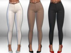 sims 4 cc // custom content clothing // the sims resource // // Saliwa's V. Moda Stretch Classial Trousers with Belt Sims Four, The Sims 4 Pc, Sims 4 Mm Cc, Mods Sims, Sims 4 Mods Clothes, Sims 4 Clothing, Clothing Sets, Sims 4 Tsr, Pelo Sims